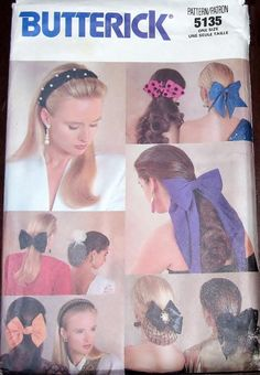 Butterick 5135 151 Fashion Hair Accessories Flowers Bows Headband Clips Snood Womens Misses Vintage Craft Sewing Pattern Uncut Factory Folds by RosesPatternsEtc on Etsy