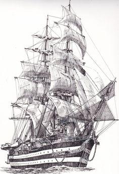 Boat drawing Ship drawing Ship paintings Sailing ships Boat Old sailing ships - by Frammentidicolore on Etsy - Boat Sketch, Ship Sketch, Pirate Ship Drawing, Boat Drawing, Tattoo Barco, Old Sailing Ships, Ship Paintings, Nautical Art, Pencil Art Drawings