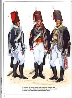 Trooper, 7th Hussars, 1808.  Sergeant Major, 15th Hussars, 1808.  Officer, 10th…
