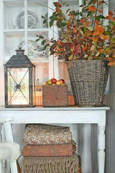 Vibeke Design Fall bouquet of leaves turned colorful, beautiful throws, big lantern Fall Home Decor, Autumn Home, Autumn Decor Living Room, Vibeke Design, Home Decoracion, Seasonal Decor, Holiday Decor, Autumn Decorating, Decorating Ideas