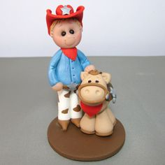 Cowboy/Cowgirl and Pony Birthday cake topper by clayinaround- need this for mason's birthday! Little Cowboy, Cowboy And Cowgirl, Birthday Decorations, Birthday Ideas, Birthday Cake Toppers, Gingerbread Cookies, Pony, Christmas Ornaments, Holiday Decor