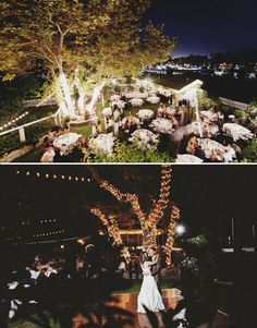 Lighted Backyard Reception and Wooden Dance floor - Close knit & Intimate, just what I want. <3