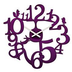Koziol Pi:p Plum Wall Clock - unique purple clock Unusual Clocks, Unique Wall Clocks, Mint Walls, Design3000, Living Room Clocks, Tabletop Clocks, Wall Clock Design, Prune, Red Candy