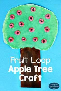 A Fruit Loop Apple Tree Craft for Toddlers is easy for little ones to make and…