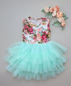 Take a look at this Whitney Elizabeth Aqua & Blush Floral Tiered Tutu Dress - Infant, Toddler & Girls today!