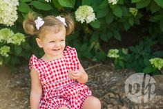 Sweet summer session. Gingham and hydrangeas. What could be better?!?! Taken at Wilson Park in Fayetteville, Arkansas. Photos by Whitney Flora Photography.