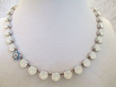 SOMETHING BLUE, SWAROVSKI necklace,  bridal, bridesmaid, white opals, flower embellished, designer inspired, dksjewelrydesigns