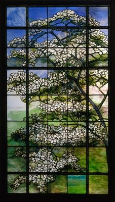 Dogwood glass window by Louis Comfort Tiffany.