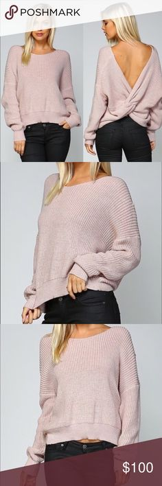 "Round neck open back long sleeve ribbed sweater Round neck open back ribbed sweater in color muave  Features:  Very sexy Hottest trend of the year Open back Pullover style Material: 80% acrylic, 20% cotton Boutique clothing  Please note that the material has good amount of stretch.   Measurements:  Small: Bust : 36""-44"" Length: 23.5""  Medium: Bust: 38""-46"" Length:24""  Large: Bust: 40""-48"" Length:24""  Above measurements are in inches Pink Peplum Boutique Sweaters"