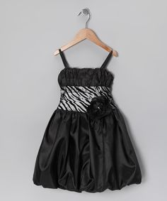 Black & Silver Zebra Bubble Dress - Toddler & Girls by Cinderella Couture #zulily #zulilyfinds