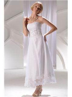 Aライン プリンセスストラップレス アンクルレングス ウェディングドレス ブライドスタイル2014