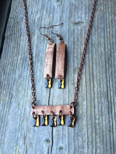 Textured Long Copper Bar Necklace & Earring Set by McHughCreations