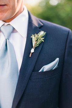 Dusty blue March Wedding Color Ideas: White bride and dusty blue bridesmaids, white and dusty blue bouquets, navy blue suits and dusty blue ties for groom and groomsmen… Blue Suit Wedding, Wedding Men, Trendy Wedding, French Blue Wedding, Tuxedo Wedding, Elegant Wedding, Rustic Wedding, Groom Attire, Groom And Groomsmen