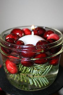 cranberry/pine floating candle - use little mason jars; put in bathrooms for party!