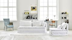 Söderhamn, Sofa Covers, 3 Seater, Loose Fit Urban Rosendal Pure Washed Linen Absolute White