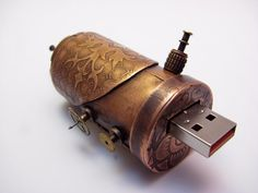 Steampunk USB Drive - 16 GB - Copper, Metal Etched w/ Austrian Eagle and Gears