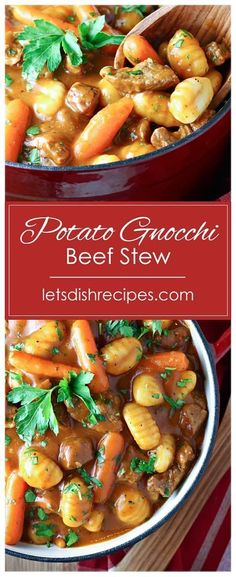 Lower Excess Fat Rooster Recipes That Basically Prime Potato Gnocchi Beef Stew Recipe - Potato Gnocchi Replaces The Traditional Potatoes In This Rich And Hearty Beef Stew. The Perfect, Comforting Meal On A Cold Day. Beef And Potato Stew, Hearty Beef Stew, Beef Dishes, Pasta Dishes, Food Dishes, Cooker Recipes, Soup Recipes, Healthy Recipes, Crockpot Recipes