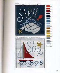 nautical beach-themed cross stitch motif squares.