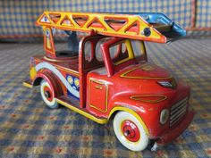 Antique Japan Tin Litho Friction Tin Toy Ladder Truck Firetruck