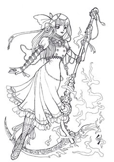 Free Lineart-Steampunk Lolita by kungfubellydancer @ DeviantArt Blank Coloring Pages, Printable Adult Coloring Pages, Disney Coloring Pages, Coloring Books, Dragon Coloring Page, Free Stencils, Digi Stamps, Colorful Pictures, Steampunk Gears