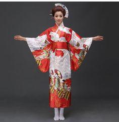 Hot Sale Red Fashion Women Kimono Yukata Haori With Obi Japanese Style Evening Party Dress Asian Clothing Flower One Size Traditional Kimono, Traditional Dresses, Fashion Office, Red Fashion, Womens Fashion, Island Outfit, Yukata, Evening Party, Geisha
