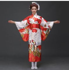 Hot Sale Red Fashion Women Kimono Yukata Haori With Obi Japanese Style Evening Party Dress Asian Clothing Flower One Size Fashion Office, Japanese Kimono, Japanese Style, Red Fashion, Womens Fashion, Island Outfit, Yukata, Vintage Kimono, Kimonos