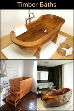 This Timber Bathtub Looks Like You Could Stay In It All Day! Wood Bathtub,