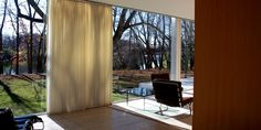 The 1951 structure is as much a Zen temple as a modernist masterpiece. Farnsworth House, Minimalist Home, View Image, Interior Design, Interior Architecture, Design Inspiration, Curtains, Furniture, Home Decor