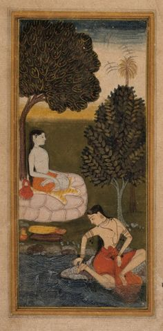 An Ascetic and a Woman Plucking a Thorn from her Foot.  India, Mughal, c. 1600 - 1625.  Opaque watercolors, gold, and ink on paper.      This scene taken from a Sukra-Rambha Samvada depicts the queen of apsaras (celestial maidens), Rambha, who is often sent by the king of the gods in order to seduce and tempt sages as they practice tapasya, penance to the gods that frequently results in great boons being granted.