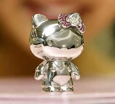 Sanrio's miniature Hello Kitty for the super rich is platinum with seven hair ribbons made of diamonds, rubies, pink sapphires, and amethyst and blue topaz. A bargain at $230,000.