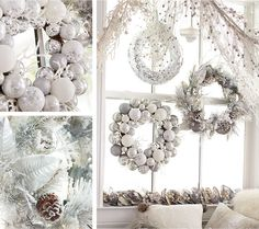 "I""m Dreaming of a White Christmas - Arrange for a white Christmas with an assortment of glimmering wreaths in a pristine color palette."