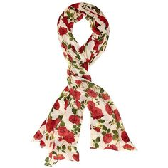 Betsey Johnson Roses Are Red Lace Trimmed Scarf ($48) ❤ liked on Polyvore featuring accessories, scarves, ivory, floral scarves, ivory shawl, floral print scarves, betsey johnson scarves and floral shawl