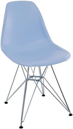 Dining Home Mid 1 Piece Blue Plastic Side Chair with Wire Base Arm Back Chairs  #DiningHome
