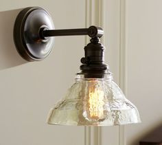 Vintage Ideas Pottery Barn PB Classic Sconce - Vintage Glass - The Vintage Glass Sconce merges the simplicity of a classic fixture with subtle vintage appeal and a warbled clear-glass shade. Bathroom Sconces, Bathroom Light Fixtures, Wall Sconces, Wall Lamps, Master Bathroom, Bathrooms, Bathroom Wall, Hallway Lighting, Kitchen Lighting