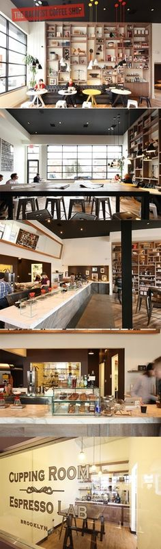 Coffee Shop ideas. Black paint on ceiling, feature wall, and posts. White everywhere else. Walnut shelves.