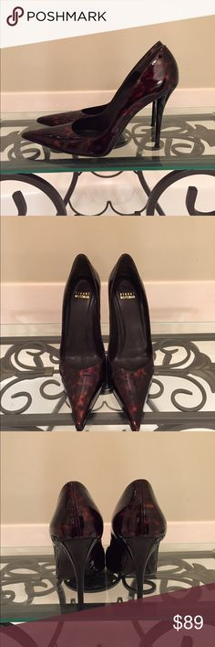 Stuart weitzman patent tortoise stilettos 8.5 Excellent condition! Only real signs of wear are on soles. Black heel Stuart Weitzman Shoes Heels