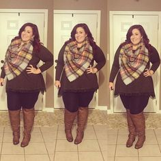 Plus Size Fashion - Blanket Scarf Outfit