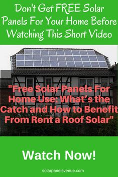 'Free solar panels' allow you to have a solar power system installed on your roof and to get paid for it while getting provided with solar generated electricity. Watch now what's the catch and how to benefit from rent a roof solar! #solarpanels, #solarpower #solarpanels,solarenergy,solarpower,solargenerator,solarpanelkits,solarwaterheater,solarshingles,solarcell,solarpowersystem,solarpanelinstallation,solarsolutions Free Solar Panels, Solar Energy Panels, Solar Panels For Home, Best Solar Panels, Solar Shingles, Solar Roof Tiles, Solar Projects, Diy Projects, Solar House