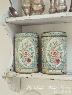 Old cans.  My little white home by Nadine: Plaatjes ~ Latest pictures
