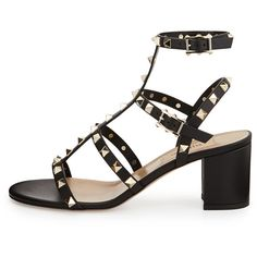 Valentino Rockstud Strappy City Sandal, Black (3.225 BRL) ❤ liked on Polyvore featuring shoes, sandals, heels, eleanor, eleanor calder, black heeled shoes, monk-strap shoes, black strap shoes, strappy heel shoes and black heeled sandals