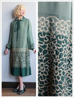 ~1920s Embroidered Silk Dress ~Silk crepe ~Two Tone Green ~Ivory Embroidery ~Long sleeve ~Side pleat panels ~Neck tie collar detail ~No closure ❉