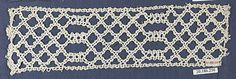 Insertion Date: 16th century Culture: Italian, Venice Medium: Bobbin lace Dimensions: L. 10 x W. 2 3/4 inches 25.4 x 7.0 cm Classification: Textiles-Laces Credit Line: Rogers Fund, 1920 Accession Number: 20.186.256