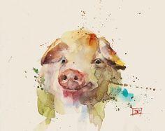 Schwein Aquarell Kunstdruck Von Dean Crouser Aquarelllmalerei