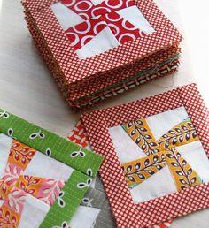 Mini Quilt Blocks: Adorable.... I am crazy for pinwheels
