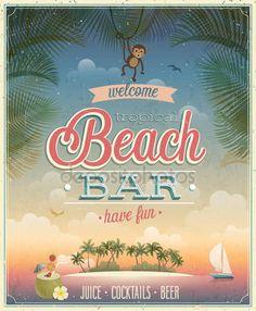 Cartaz de bar de praia vintage — Vetores de Stock © aviany #47658969
