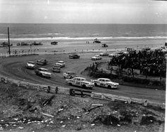 Automobiles racing on the beach road - Daytona Beach, Florida
