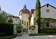 Domed tower, tile roof, exterior entry for an Italian Renaissance Villa in Dallas, TX | Richard Drummond Davis Architects