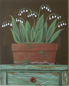Lily of the Valley Folk Art Print