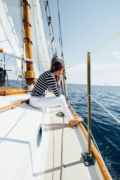 sailing nantucket in stripes and white jeans. sailing nantucket in stripes and white jeans.