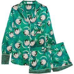 Olivia von Halle Alba floral-print silk-satin pajama set (1.391.270 COP) ❤ liked on Polyvore featuring intimates, sleepwear, pajamas, green, green pajamas and silk satin pajamas